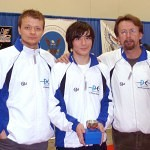 DCFC Coach Robert Suchorski, Cadet Men's Epee Gold Medalist Clinton Rodell, and DCFC Head Coach Janusz Smolenski at the Capitol Clash SYC