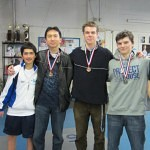 DCFC Champagne Challenge Top Eight, from L-R: Arjuna Subramanian, Joseph Way (Bronze), Conrad Sutter (Bronze), Alec Walker (Silver), and Gold Medalist Ben Russell of Ligonier Fencing Club in PA.