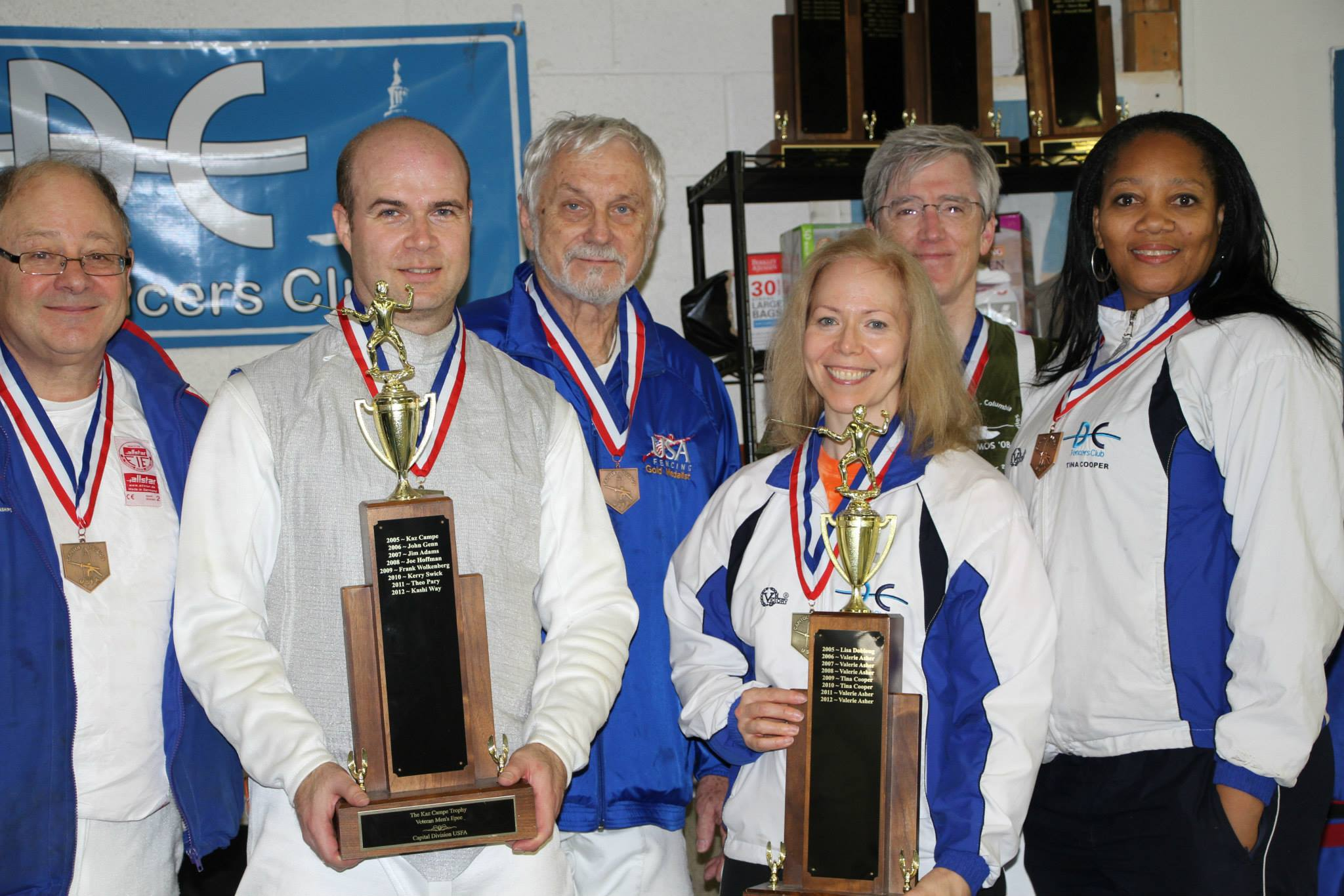 From L-R, Theo Pary, Kashi Way, Kaz Campe, Sally Gifford, Stephen Biddle, and Tina Cooper, among the medalists for the Tom Wright epee event.