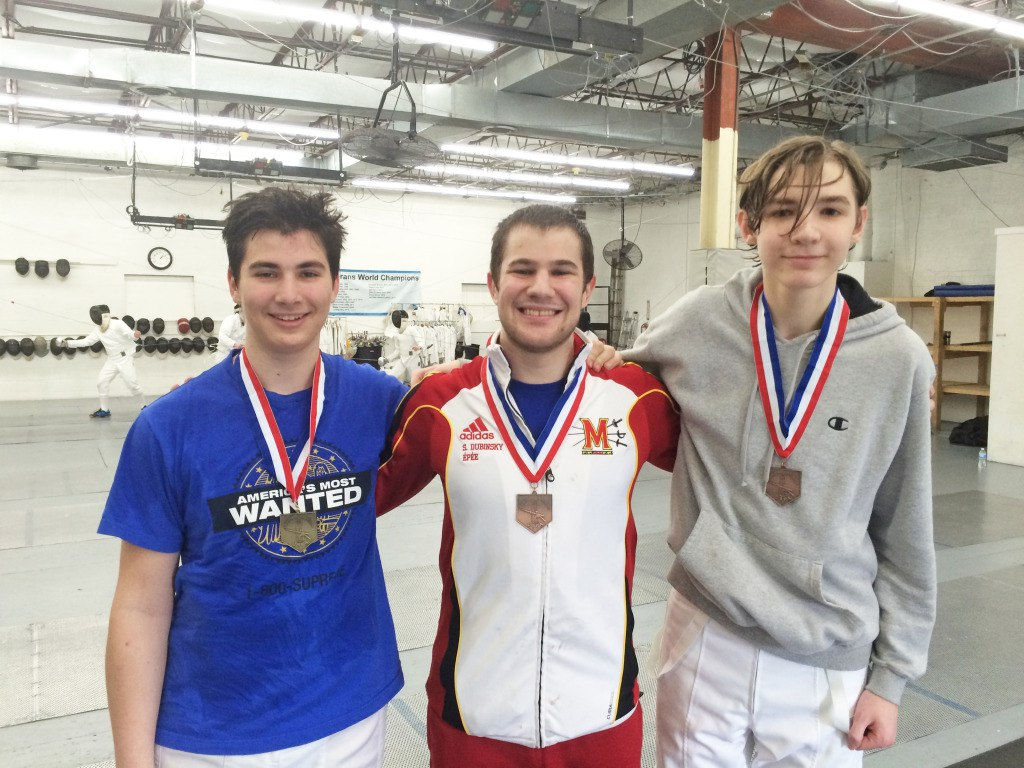 Daniel Sitbon-Taylor, Scott Dubinsky, and Sam Hendricks take top spots in the C and Under Men's Epee event at the 2015 Capitol Division Qualifiers.